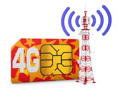 Sim card and telecommunication tower - stock illustration