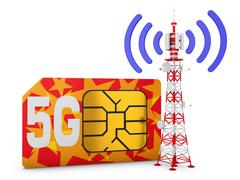 Sim card and telecommunication tower Stock Illustration