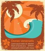 Tropical paradise retro poster - stock illustration