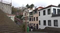 4k Monte palace tourism destination Madeira stairs panning Stock Footage
