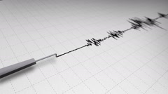 Seismograph Earthquake Recording on Grid Paper Loop - stock footage