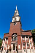 Boston Park Street Church in Massachusetts Stock Photos