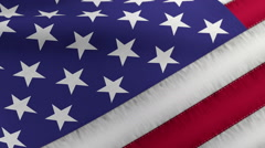 United States of America Flag Detailed Closeup at Angle Stock Footage