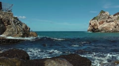 Cala Deia, breaking of waves Stock Footage