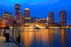 Boston sunset skyline at Fan Pier Massachusetts - stock photo