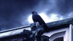Dark Fantasy Horror Raven Perched On Tower Stock Footage