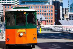 Boston trolley at Congress Street bridge Stock Photos