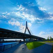 Boston Zakim bridge in Bunker Hill Massachusetts - stock photo
