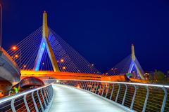 Boston Zakim bridge sunset in Massachusetts - stock photo
