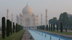 The Taj Mahal in the early morning Stock Footage