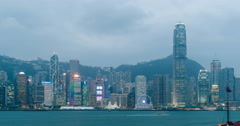 Hong Kong Victoria Harbour time lapse Stock Footage