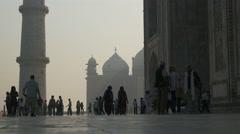 Taj Mahal in India, silhouettes of visitors Stock Footage