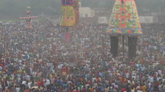 India festival, gathering crowds, busy square, Dussehra festival, celebrations Stock Footage
