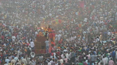 Crowd in India, people celebrate Dussehra festival - stock footage