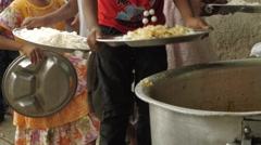 Children in Food Line at Indian Orphanage Stock Footage