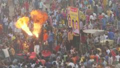 India festival, fire breathing performance, excited crowd, Dussehra celebrations Stock Footage