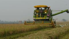 India agriculture, combine harvester, industrial, machinery, equipment Stock Footage