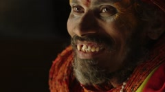 Saddhu Priest Talks in Temple Stock Footage
