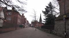 Old Town City Street, Lichfield, England Stock Footage