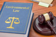 A law book with a gavel - Environmental law Stock Photos