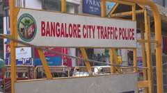 Bangalore traffic police, barrier, street sign, India Stock Footage