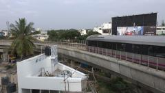 Bangalore, metro line, elevated railway, infrastructure, transportation, India - stock footage