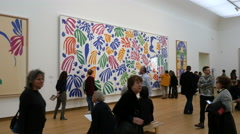 Famous Matisse cut-out work at museum Stock Footage