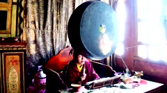 Monk, Mantras, Drum and Ganta No.1 Stock Footage