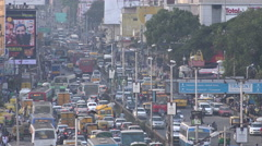 Bangalore, India, traffic jam, rush hour, pollution, busy intersection Stock Footage