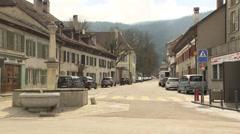 SWITZERLAND Môtier historic village main street Stock Footage