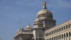 India, Bangalore, state legislature office, Victorian style building - stock footage