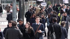 Crowded business district slow motion - 60fps Stock Footage