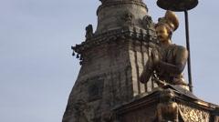 Nepal, Bhaktapur, religious statue on Durbar Square - stock footage