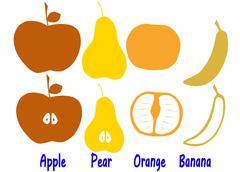 Banana apple orange pear Stock Illustration