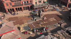 Nepal, Bhaktapur, Potters' Square, ceramics, tourism, temple Stock Footage