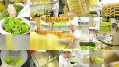 4K montage (compilation) - production of pasta (professional) - entire process - Stock Footage