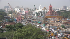 India, Chennai skyline, colonial style buildings, traffic, construction site - stock footage