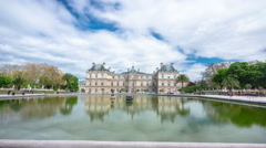 The Luxembourg Palace in The Jardin du Luxembourg or Luxembourg Gardens in Paris Stock Footage