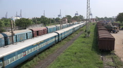 Cargo train in the Chennai Port, industry and transportation in India - stock footage
