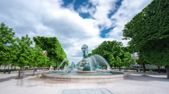 The fountain of the Observatory or the fountain Four continents in the Jardin Stock Footage