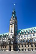 Front view of the famous town hall in Hamburg, Germany - stock photo