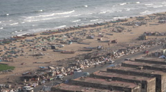 India, Chennai, Marina Beach, fishing fleet, aerial, community Stock Footage