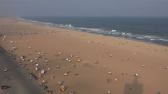 Overview of Marina Beach, a popular place to visit in Chennai, India Stock Footage