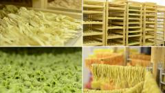 4K montage (compilation) - dried pasta in regals and on racks Stock Footage
