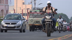 India, Chennai, rush hour traffic, busy road, Marina Beach boulevard Stock Footage
