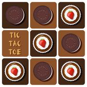 Tic-Tac-Toe of cup cake and cookie - stock illustration