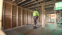 Construction worker working on job site Stock Footage