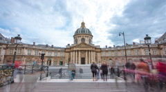 Institute de France in Paris from Pont des Arts timelapse hyperlapse Stock Footage