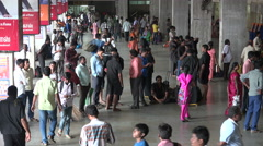 Chennai Railway station, platform, passengers, transportation, India Stock Footage