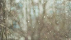 Snowfall, winter weather, bokeh Stock Footage